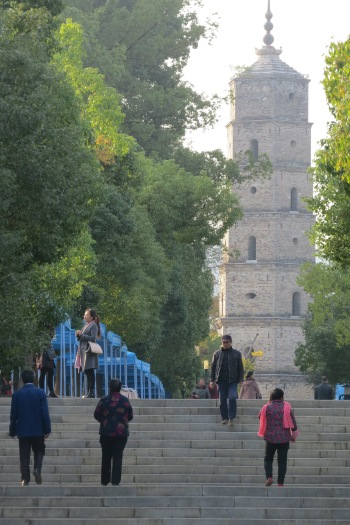 This historical tower sits atop a hill at the center of Wenfeng Park